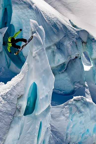 Snowboarding in Methven, New Zealand. This guy has nowhere to go but down..