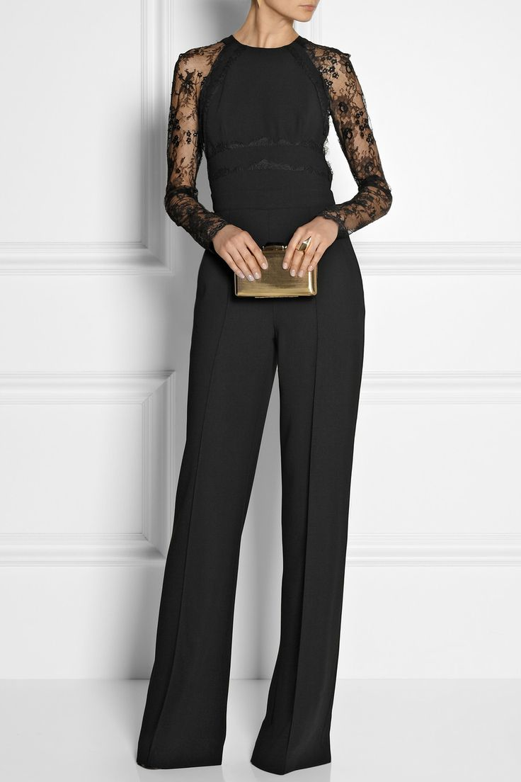 Elie Saab   Paneled lace and crepe jumpsuit