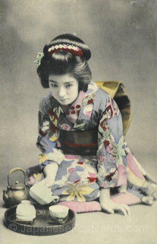 Geisha in training |  Japanese Vintage Postcards