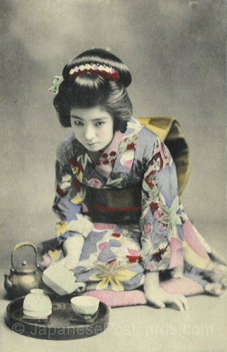 Geisha in training   Japanese Vintage Postcards