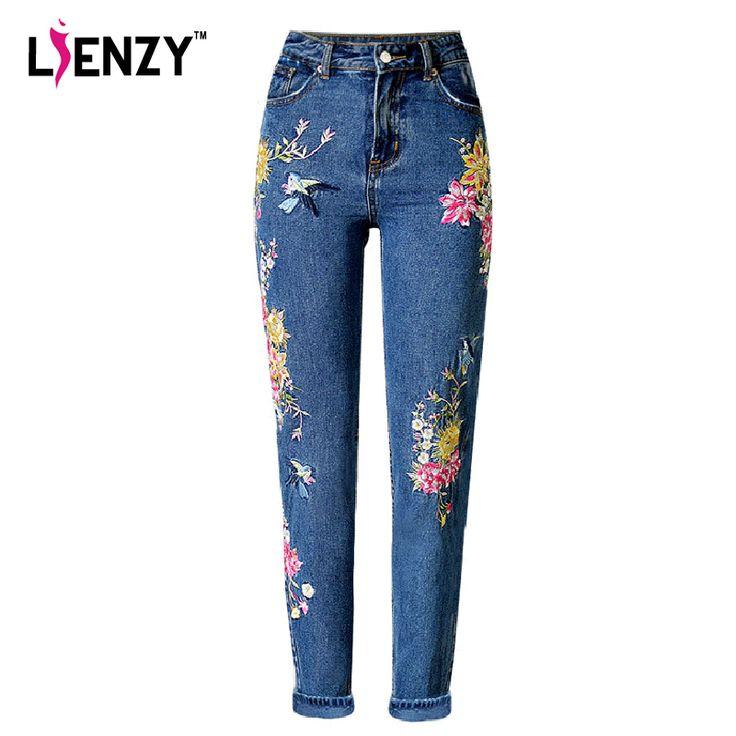 LIENZY American Apparel BF Women Jeans High Waist Bird Floral 3D embroidery High Waist Ladies Straight Denim Pants Jeans Bottoms