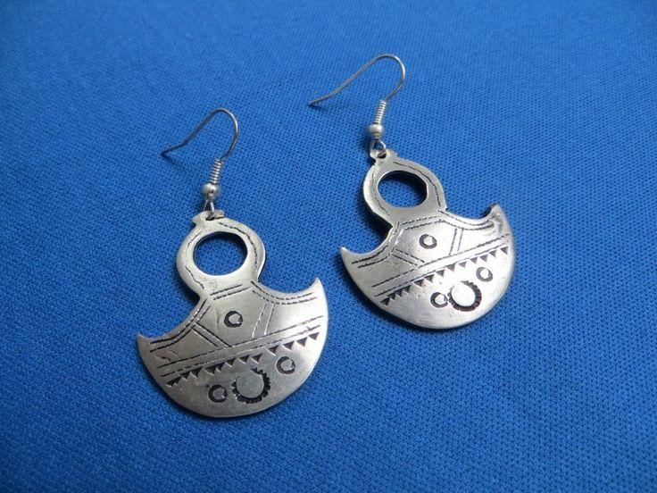 NIGER African Ethnic Jewelry Tuareg TOUAREG GOFED CROSS Silver Earrings AA $17.95