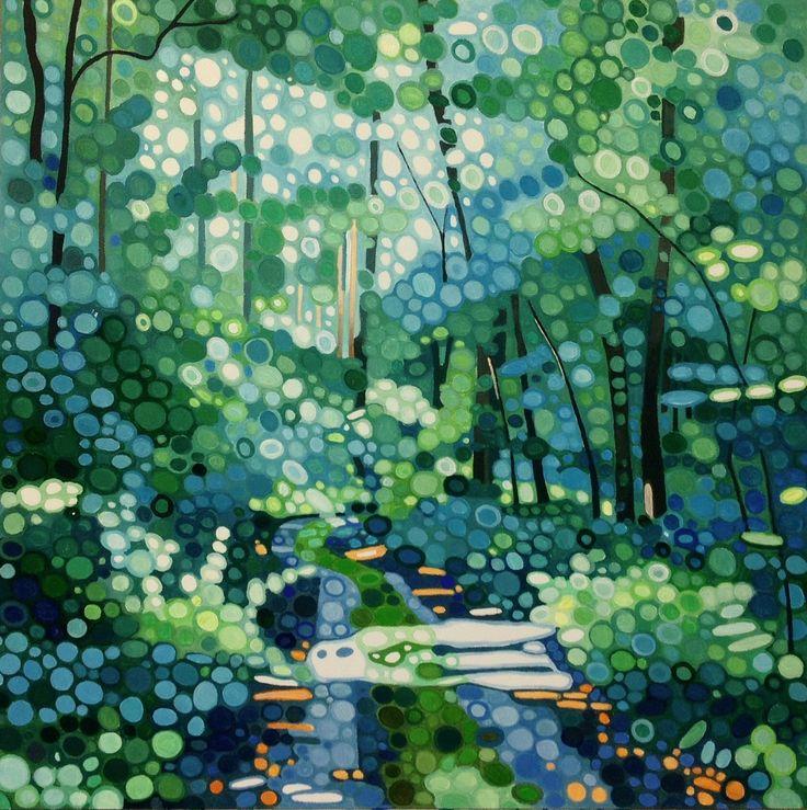Ewa Adams Sunny Day Acrylic on Board 30 x 30 cm  #Art #Acrylic #Paintings #Woods #Trees