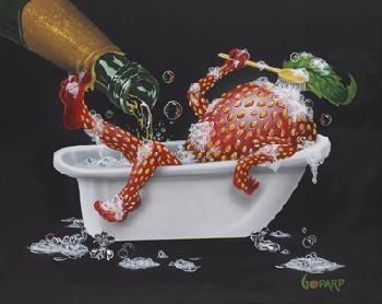 """Bubbly Bath 2"" by Michael Godard  -  available as a signed and numbered limited edition giclee on canvas (two sizes), an artist's proof, and a gallery proof."