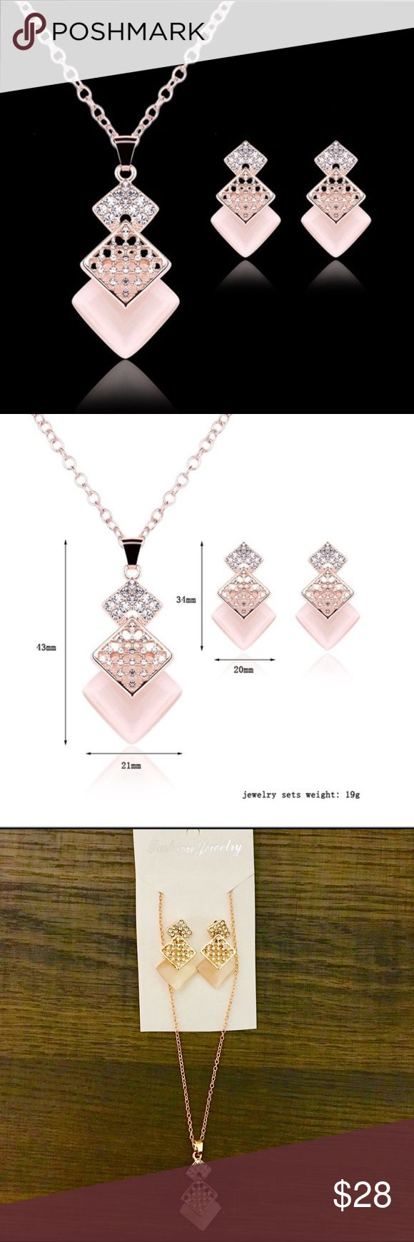 Rose Glam Femme Jewelry Set NEW! Rose gold plated necklace and earrings set. Zinc alloy, rose gold plated, cubic zirconia. Wear casually or accessorize a dressy look. ✨ Jewelry