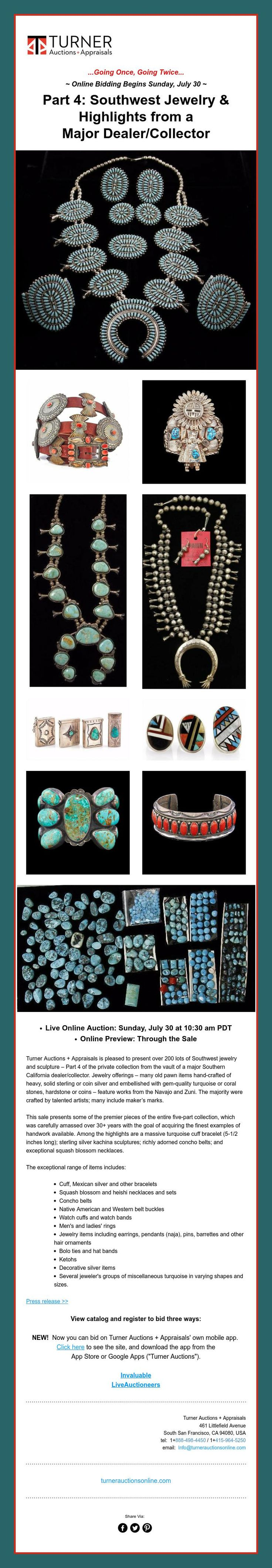 This Sunday, July 30 ~ Part 4: Southwest Jewelry & Highlights from a Major Dealer/Collector
