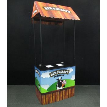 Ben and Jerry's roadshow demonstrator with custom built chiller box inside.