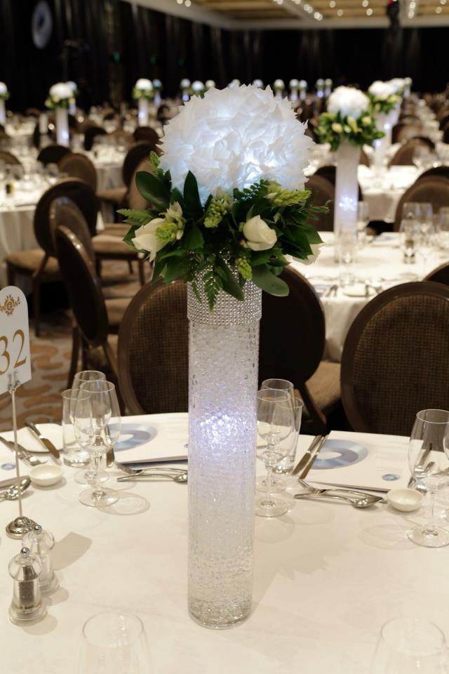 www.lumiereeventlighting.co.nz #lumiere #orb #centerpiece #flower #lantern