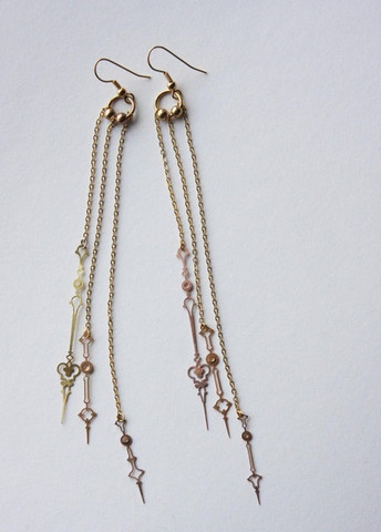 """TINY'S FANCY CLOCK HAND EARRINGS - Made from used pocket watch hands, gold chain & beads. No clocks were harmed in the making of these earrings. 5"""" in length"""