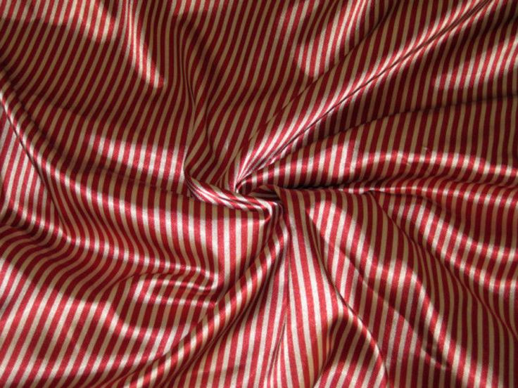 Details about Stripe Gold  Red Faux Silk Satin 48W