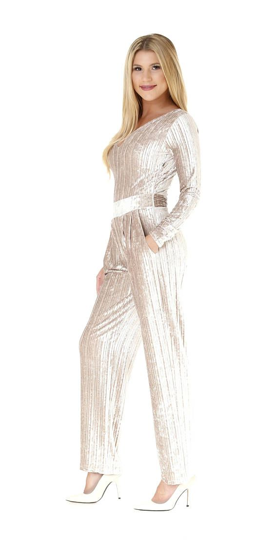 8c9a18816aa Pleated Beige Velvet Jumpsuit V Neck Long Sleeves Pockets Waistband  white   velvet  green  jumpsuit  fashion  style