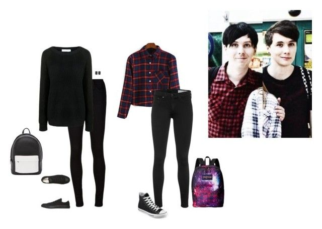 """""""A Very YouTube Halloween ~ Dan and Phil"""" by hanakdudley ❤ liked on Polyvore featuring AG Adriano Goldschmied, Finders Keepers, rag & bone, Converse, JanSport and PB 0110"""