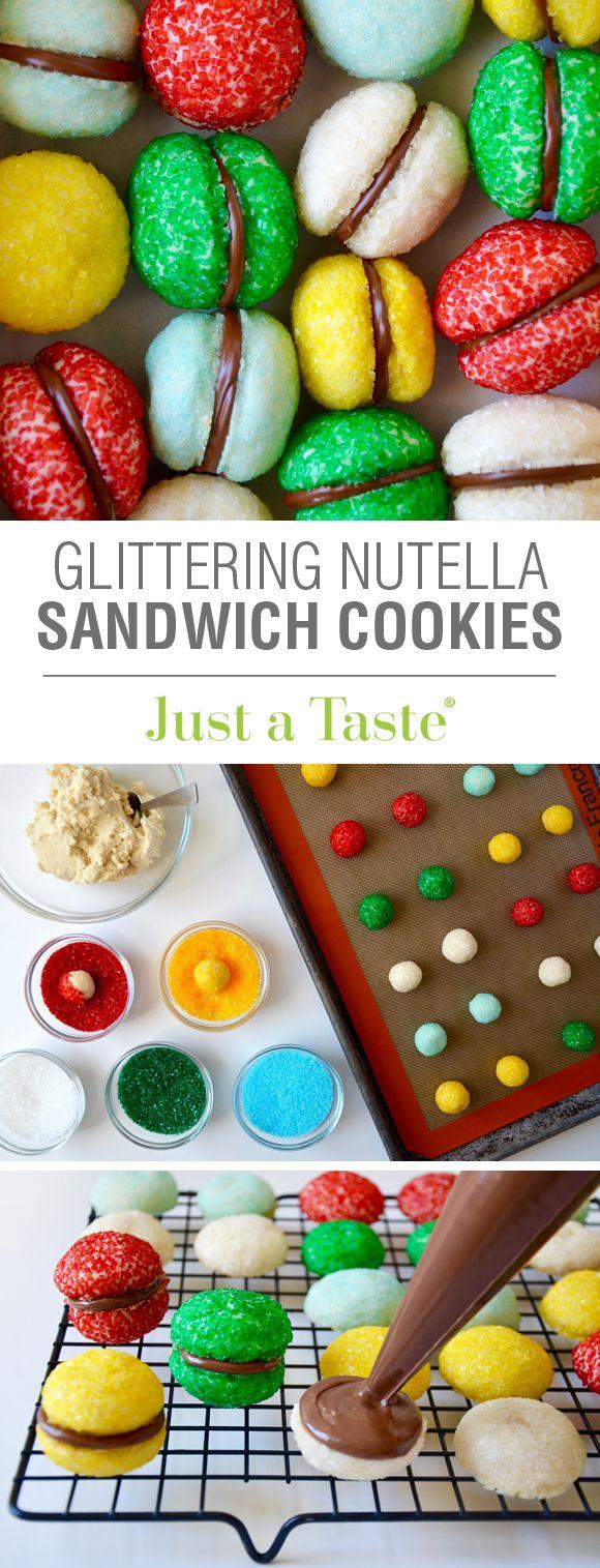 Glittering Nutella Sandwich Cookies recipe via justataste.com