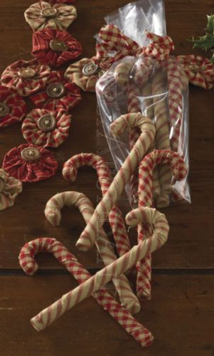 Set of 6 Fabric Candy Canes - prim country decor for Christmas. Use as fill in our glass candle cylinders, in baskets with pinecones or in treenware bowls. Hang them on the tree or on a garland. Can be attached to wreaths. Comes in a gift bag tied with a homespun ribbon. Cute & affordable gift. #Christmas #CandyCane Find them here: http://www.ebay.com/itm/Christmas-Fabric-Candy-Canes-by-Park-Designs-Set-of-6-in-Gift-Bag-Two-Designs-/351221860742?