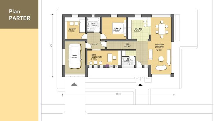 Casa mica organizata pe parter 94 mp utili- Plan parter| Modern single-family dwelling-  Ground floor plan| Etichete: proiecte case, proiecte case mici, proiecte case mici parter, case mici, proiecte case moderne, case moderne
