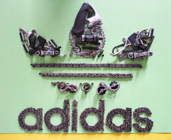 Iconic Posters Cleverly Recreated Using Discarded Bike Parts - My Modern Met