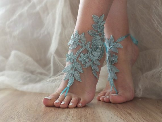 Free Ship blue lace Barefoot Sandals, french lace, Nude shoes,Beach wedding…