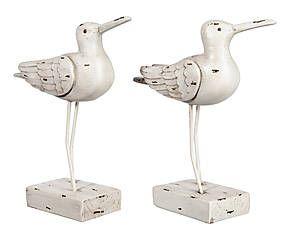 2 Oiseaux décoratifs résine, blanc - H21