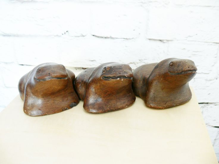 Set 3 Vintage Frog Toad Pottery Figurines Brown Candle Holders Hand Made Garden Outdoor by PaddywhackKnickKnack on Etsy