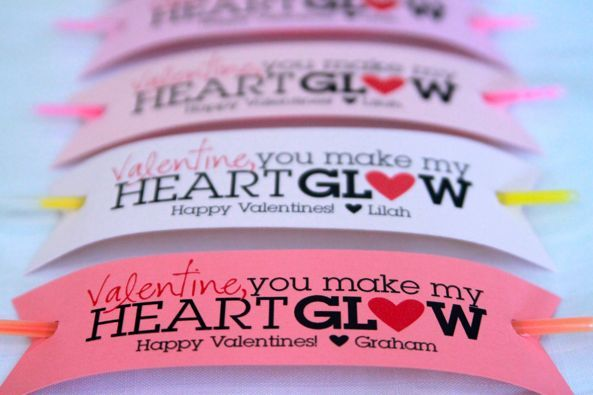 glow stick bracelet valentine -- printable You can buy 10 glow sticks at the dollar store for 1.00.