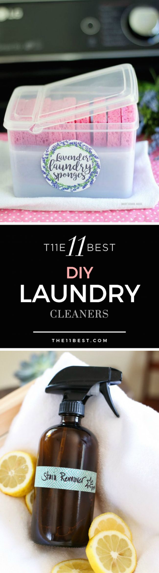 The 11 Best DIY Laundry cleaners. DIY fabric softener sponges, DIY laundry stain remover, and DIY laundry detergent ideas.