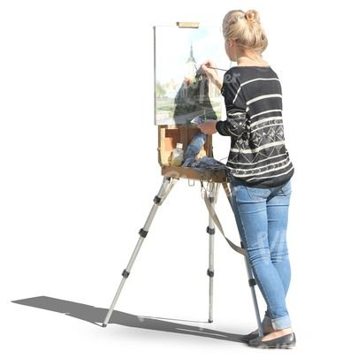 Young female artist painting