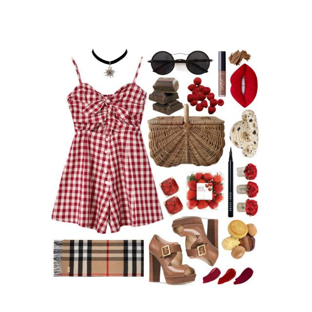 """""""Rustic Picnic Date"""" by mishcacao on Polyvore featuring Chicnova Fashion, Michael Kors, Lime Crime, Kate Spade, Burberry, Ellis Faas, The French Bee, Bobbi Brown Cosmetics, tarte and rustic"""