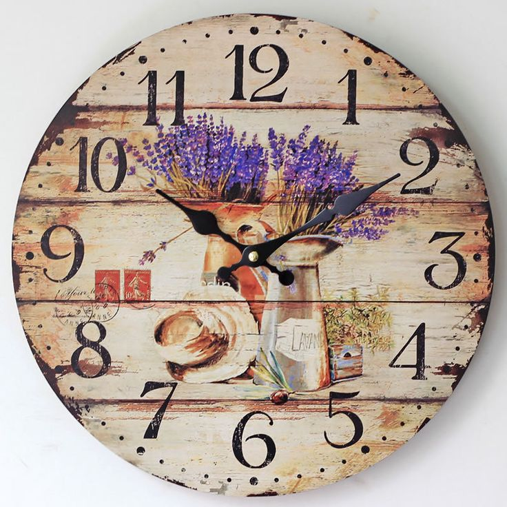 Lavender Family Decorative Wall Clocks Modern Design Living Room Antique Wooden Vintage Wall Clock Home Decor Fashion Rustic