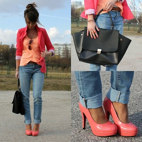 :)Shoes, Colors Combos, Fashion, Coral, Blazers, Heels, Cute Outfit, Cuffed Jeans, Bright Colors