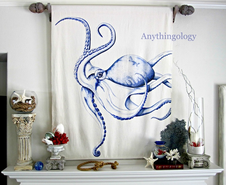 octopus blue colored pencil blue sharpie and blue ball point pen on canvas