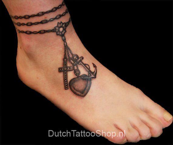enkel tatoeages | foot-voet-ketting-hoop-geloof-liefde-tattoo