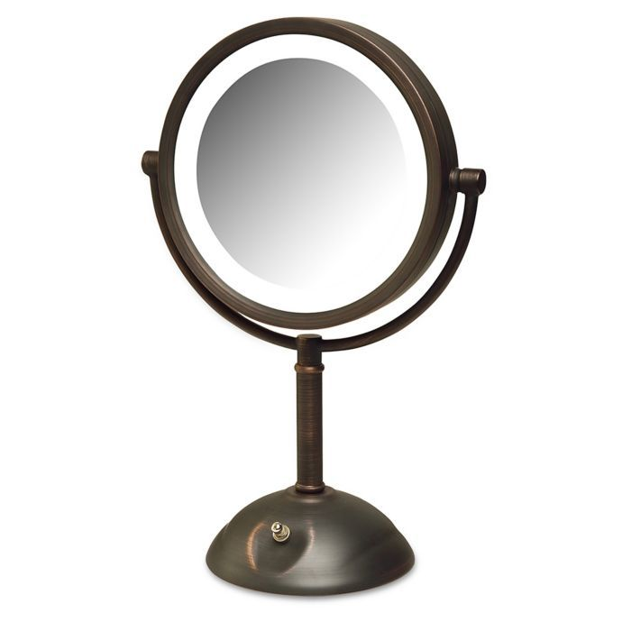Jerdon 8x Led Tabletop Mirror In Bronze With Images Lighted