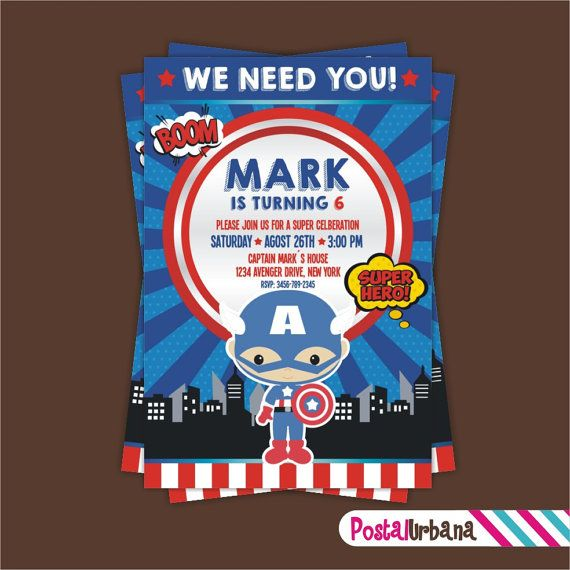 Captain America INVITATION Birthday Party by PostalUrbana on Etsy