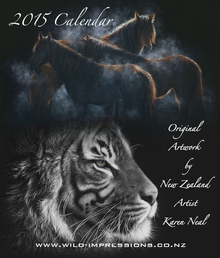 Cover of my 2015 desktop calendars, being printed, yippee!!  $NZ25 desktop, $NZ5 A4 hanging 10% donated to Marlborough SPCA Contact me karen@wild-impressions.co.nz