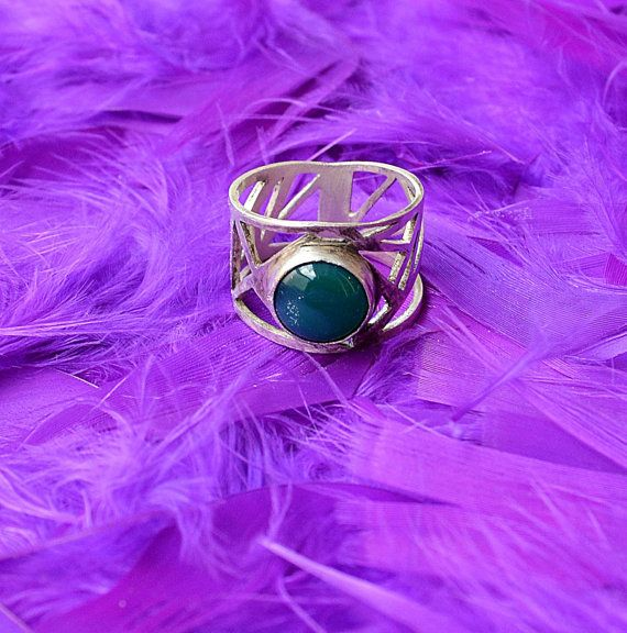 sterling silver geometry wide ring green agate stone by annoushe