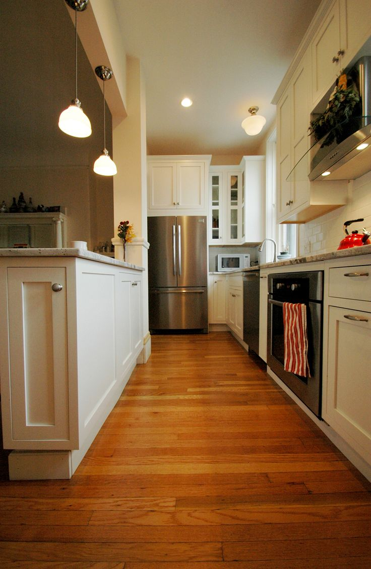 16 best small kitchen ideas images on pinterest galley for Opening up a galley kitchen