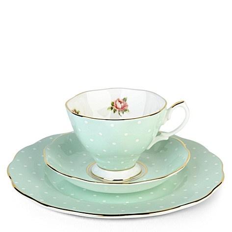 1930's Polka Rose (Royal Albert): Royals Albert, Tea Sets, Polka Roses, Teas Cups, Albert Polka, Mint Tea, Teas Sets, Roses 1930, Royal Albert