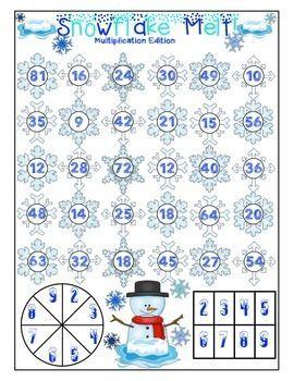 Winter Math Games FREEBIE - Super fun multiplication game!