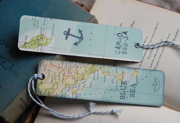 Shabby 2 Lesezeichen alte Landkarten von Lunas VintageART auf DaWanda.com                                                                                                                                                                                 Mehr