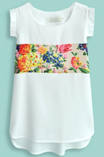 White Short Sleeve Contrast Floral Chiffon Blouse