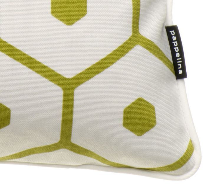 Close-up of HONEY cotton cushion, lime (opposite side), Pappelina