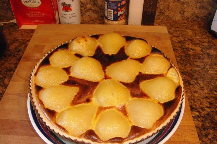 Home made pear custard tart