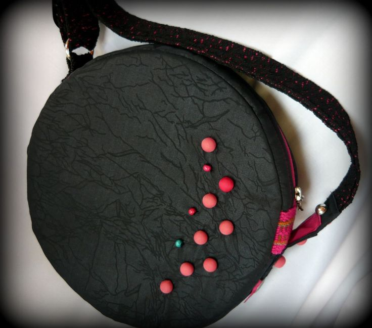 Handmade by Judy Majoros - Beaded round crossbody bag- shoulder bag. Recycled bag. Black-pink