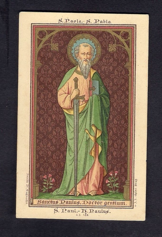 Antique Lito Goldprint Holy Card ** Sante Paulus Apostel ** St. Augustin