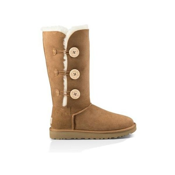 UGG Australia Bailey Button Triplet II Boots ($220) ❤ liked on Polyvore featuring shoes, boots, chestnut, cuffed boots, ugg australia boots, sheepskin shoes, button boots and grip shoes