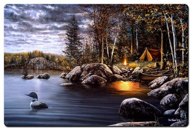 Northern Solitude by Jim Hansel, Satin Finish Art on Metal, Cabin Lodge Country home decor wall art, FREE Shipping by HomeDecorGarageArt on Etsy