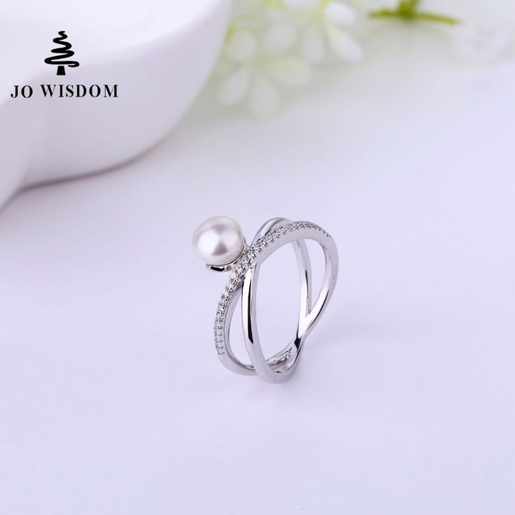 JO WISDOM Fine Jewelry Bijouterie Silver Women's rings Wedding Ring with Freshwater Pearl  for Costume jewelry rings  #Affiliate