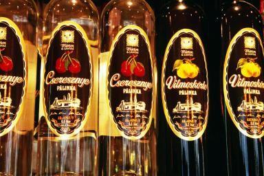 Palinka (brandy) bottles, Magyar Palinka haz, Jozsefvaros. - Lonely Planet/Lonely Planet Images/Getty Images