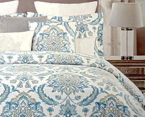 nicole miller luxury eastern floral watercolor duvet cover 3 piece set cotton jacquard damask porcelain design