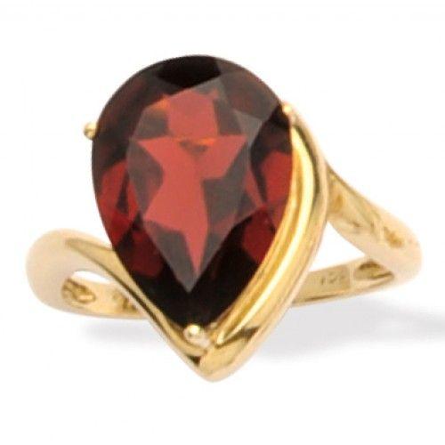 9ct Garnet Teardrop Ring. gerrim.com